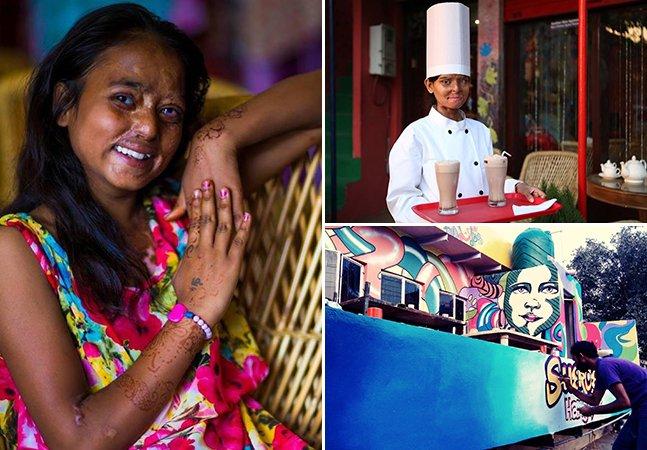 Café gerenciado por vítimas de ataques com ácido chama a atenção pra condição feminina na Índia