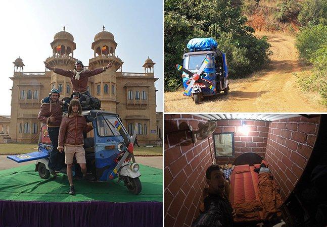 O trio de amigos que está desbravando a Índia a bordo de um tuk-tuk