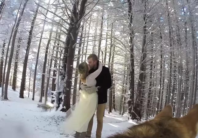 Cachorro com GoPro instalada filma o casamento dos donos em vídeo incrível