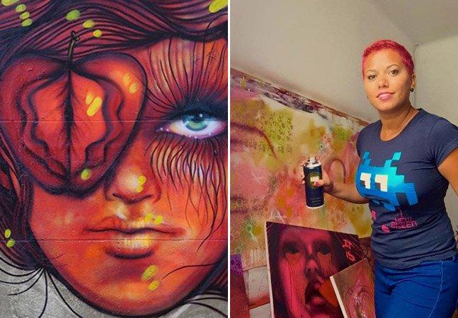 Os incríveis murais da brasileira que usa o grafitti para combater a violência contra as mulheres