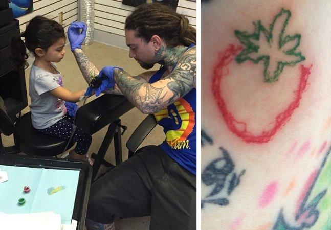 Garota de 4 anos desenha tatuagem no braço do pai