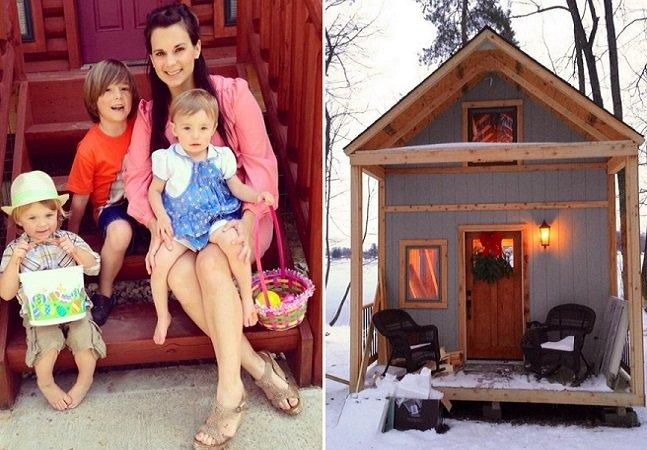 Mãe supera o divórcio construindo casa na natureza para viver com os 3 filhos
