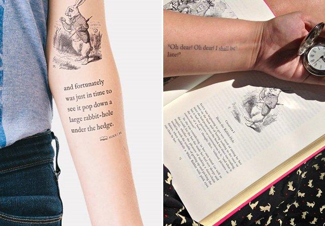 Pessoas tatuam trechos de 'Alice no País das Maravilhas' pra criar tattoo mais longa do mundo