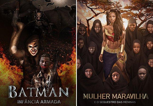 Brasileiro cria posters inspiradores com super-heróis negros combatendo problemas na África