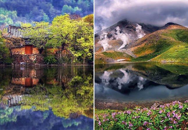 Fotógrafo retrata a beleza da Coreia do Sul através do reflexo na água de seus lagos