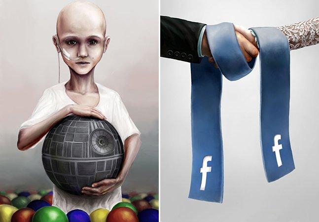 Designer cria brilhantes ilustrações para retratar os problemas do mundo moderno