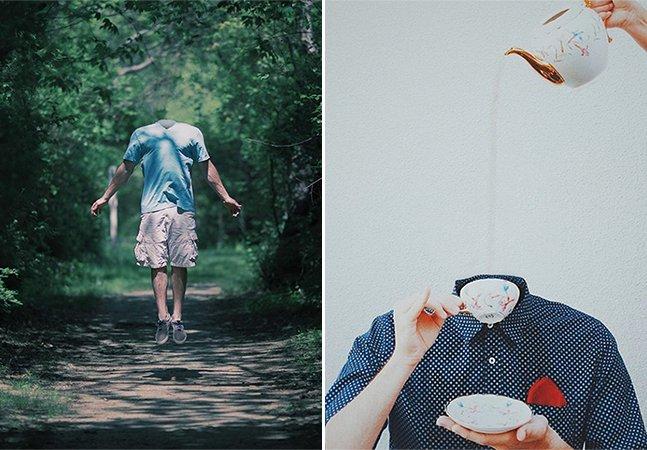 O anti-selfie: designer tira cabeça de pessoas em série de retratos surreal