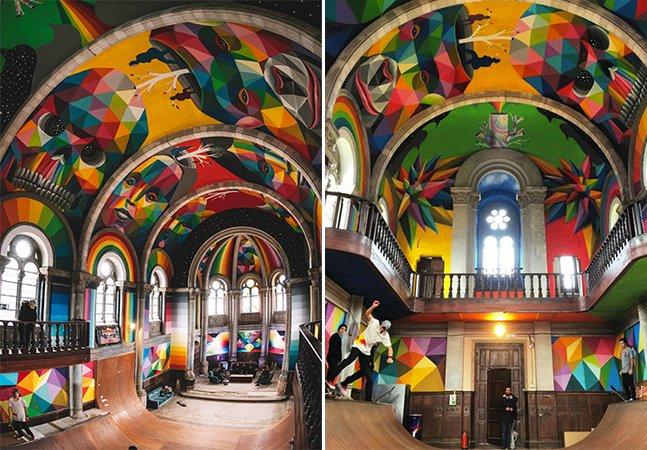 A incrível transformação de uma igreja com mais de 100 anos em uma pista de skate colorida