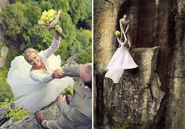 Fotógrafo cria álbuns de casamento incríveis (e assustadores!) a mais de 100 metros de altura