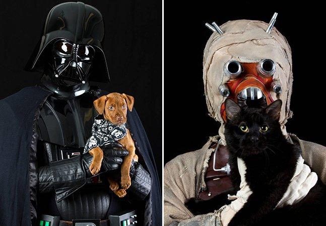 Série de fotos junta personagens de Star Wars com animais de abrigo para incentivar adoção