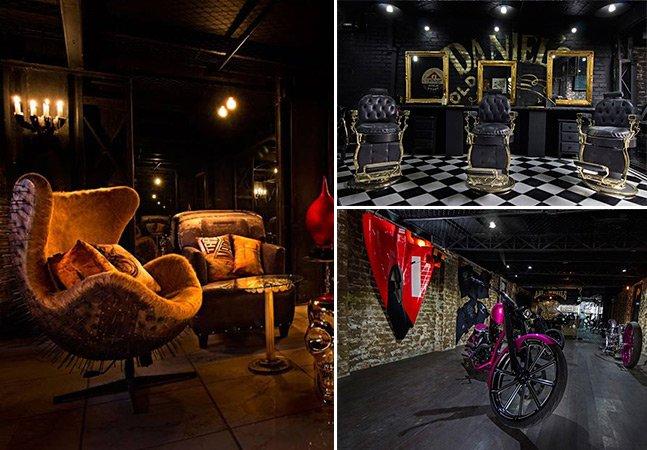 Bar em SP reúne estúdio de tatuagem, barbearia e ateliê de motos num espaço com design incrível