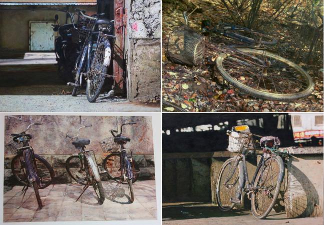 Artista chinês cria inacreditáveis pinturas realistas de bikes enferrujadas