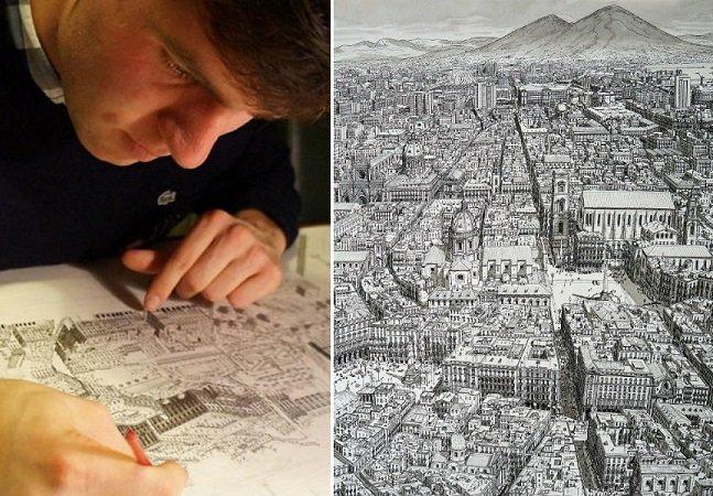Artista cria desenhos detalhistas de cidades inteiras usando apenas sua memória