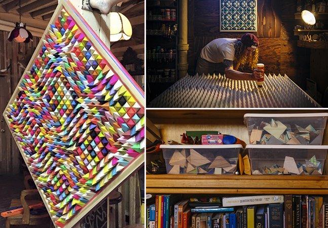 Artista usa madeira para criar esculturas coloridas e hipnotizantes que brincam com a sua mente