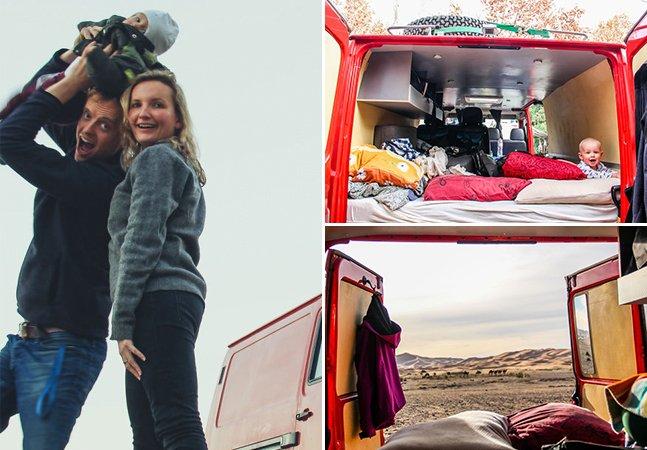 Eles viajaram com o filho de 9 meses em uma van para provar que as crianças não freiam seus sonhos