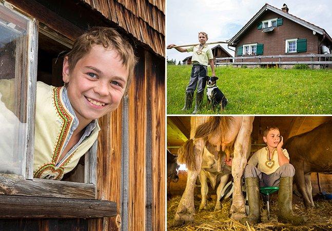 O menino de 14 anos que cuida (quase) sozinho de uma fazenda nos Alpes