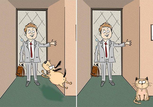 Série de ilustrações divertida mostra a diferença entre viver com um cão ou com um gato
