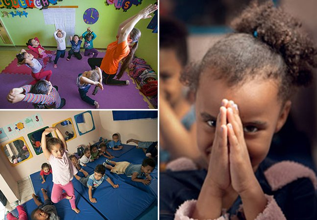 A creche na periferia de SP que oferece ioga, meditação e massagem pra melhorar o dia das crianças