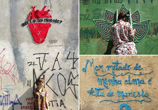 A rua é minha tela: projeto  espalha 'grafites de crochê'  pelas ruas de São Paulo