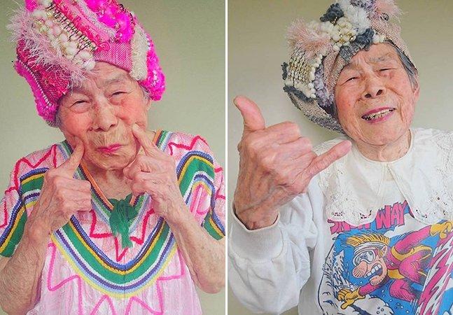 Senhora de 93 anos conquista o Instagram ao servir de modelo dos looks coloridos criados pela neta