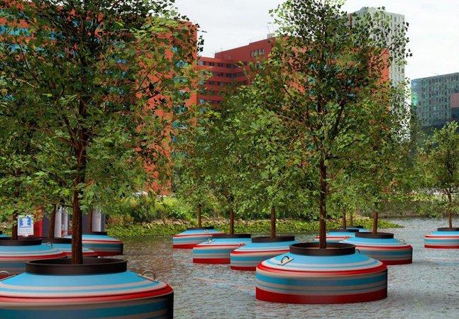 Coletivo holandês cria floresta flutuante feita com material reciclado