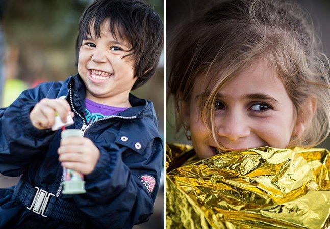 Fotógrafo vai na contramão e retrata crianças refugiadas espalhando sorrisos