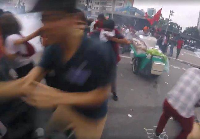 Fotógrafa usa camêra GoPro pra registrar a violência da PM nos protestos em São Paulo