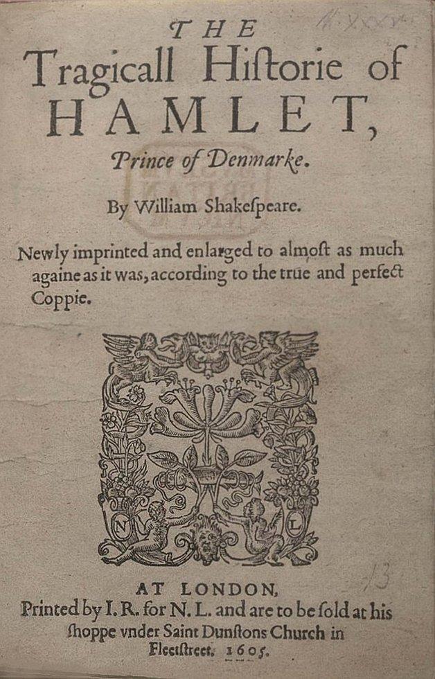 Capa da mais antiga edição de 'Hamlet' que se tem notícia, de 1605