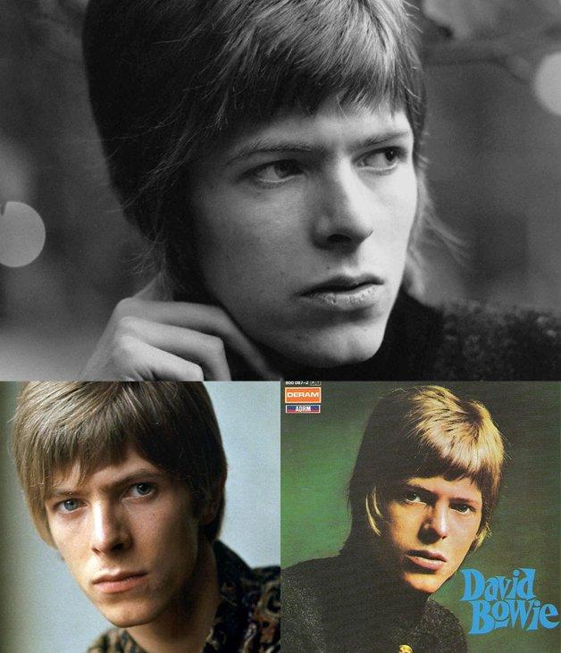 O jovem David Jones e seu primeiro disco, já como David Bowie.