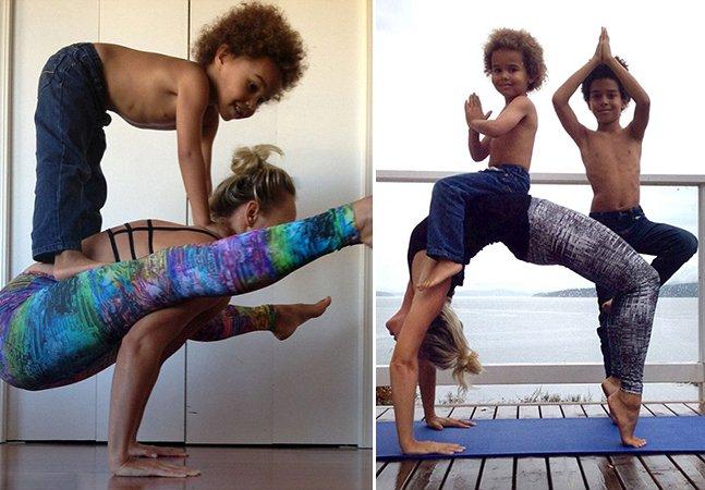 Mãe vira sucesso ao fazer belas poses de yoga com seus 2 filhos sustentados no corpo