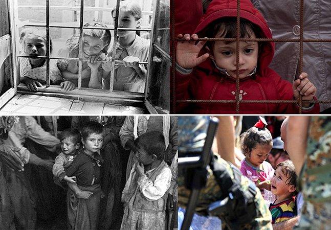 Série de fotos tocante compara a vida das crianças refugiadas de hoje com as da II Guerra Mundial