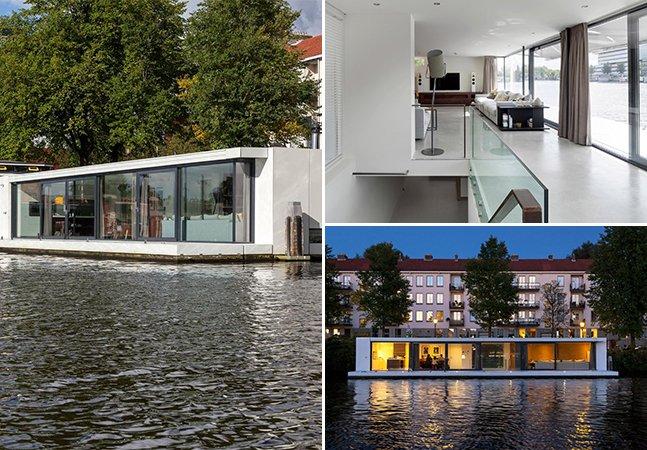 Arquitetos aproveitam canais holandeses para criar incrível casa flutuante e parcialmente submersa