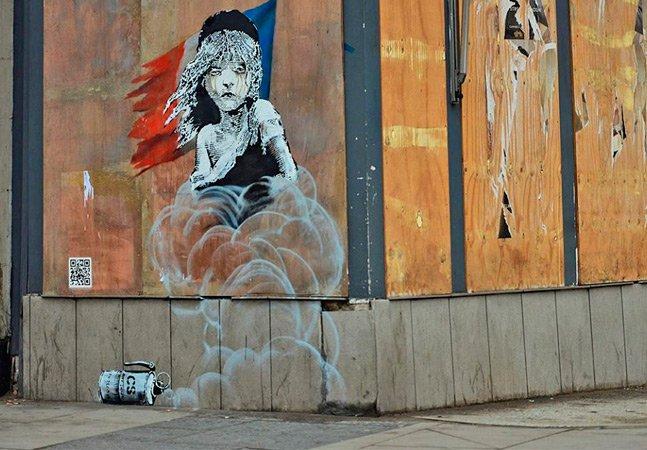 Mais uma arte de Banksy contra  a xenofobia e em defesa dos  refugiados, agora em Londres