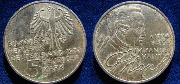 Moeda alemã de prata em homenagem a Kant
