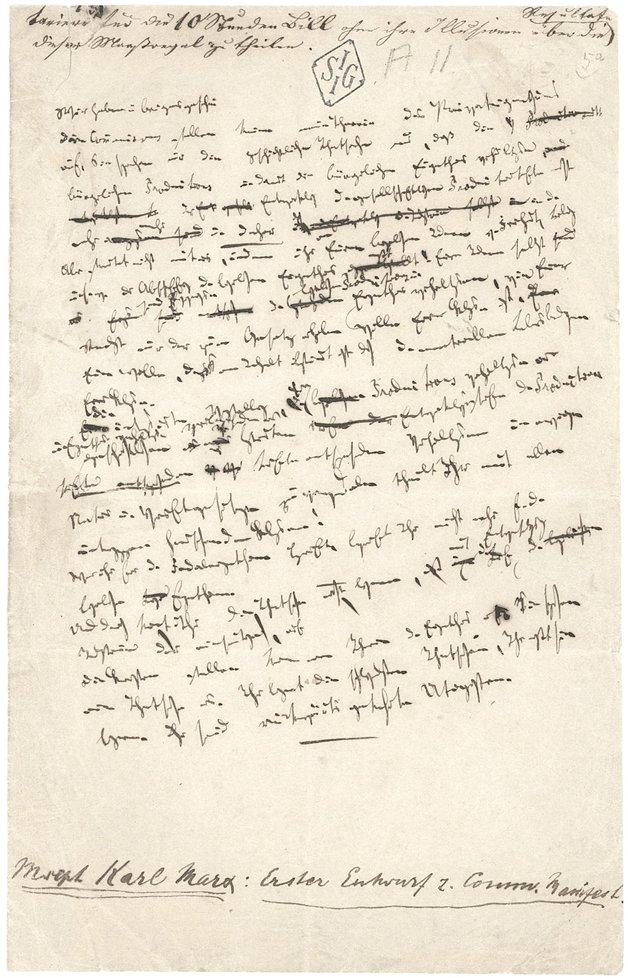 Manuscrito de trecho do Manifesto