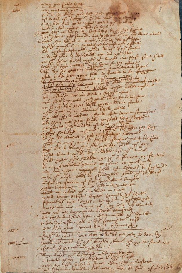 Manuscrito atribuido a Shakespeare