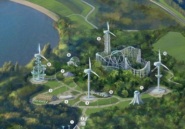 Parque de diversão movido  a energia eólica ensina  sustentabilidade a visitantes