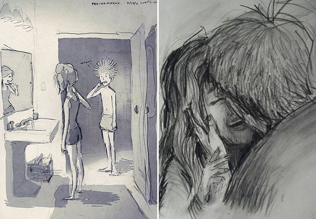 Artista cria uma ilustração por dia para retratar o amor presente na rotina com sua amada