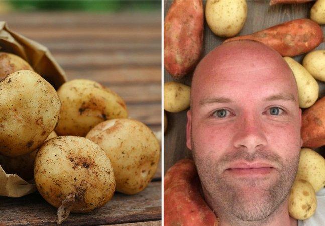 O homem que está curando sua disfunção alimentar comendo apenas batatas