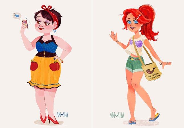 Artista imagina como seriam princesas da Disney se vivessem no século XXI