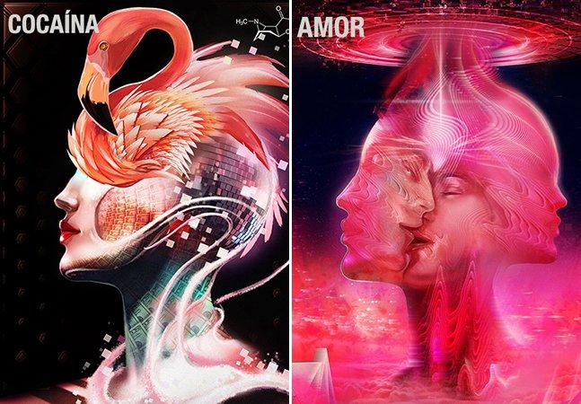 Artista usa 20 drogas diferentes e cria ilustrações para mostrar o efeito de cada uma