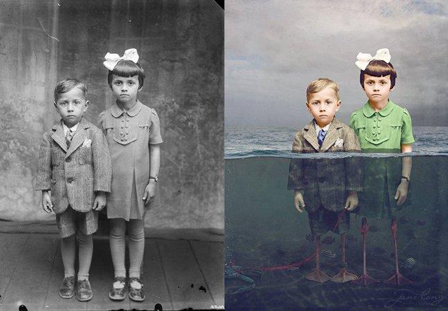 Fotógrafa colore fotos antigas  e acrescenta um toque de  magia ao resultado final