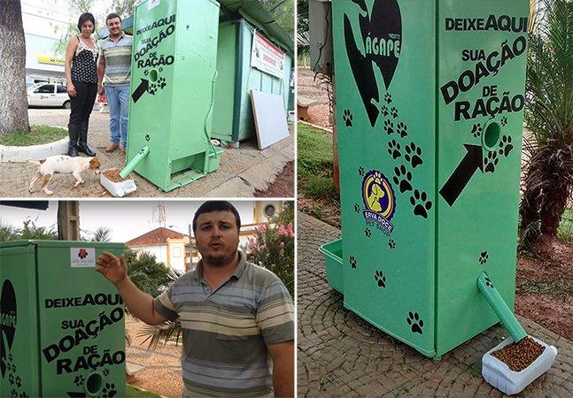 """""""Geladeira do bem"""" oferece comida e água tratada para animais de rua em munícipio brasileiro"""