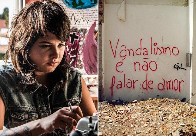 Pichadora poética usa os muros de Curitiba como página em branco para falar de amor