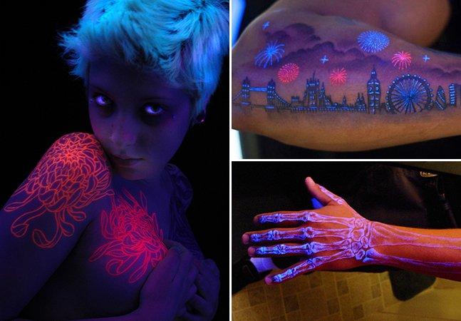 Essas tatuagens têm detalhes incríveis que só podem ser vistos na luz negra ou no escuro