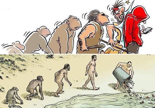 Como assim evoluímos? Série de ilustrações questiona as escolhas do ser humano
