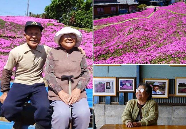 Homem passa 2 anos plantando milhares de flores para sua mulher com deficiência visual poder cheirar