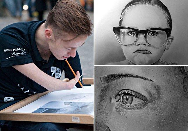 Artista polonês que nasceu sem os braços desenha incríveis obras realistas