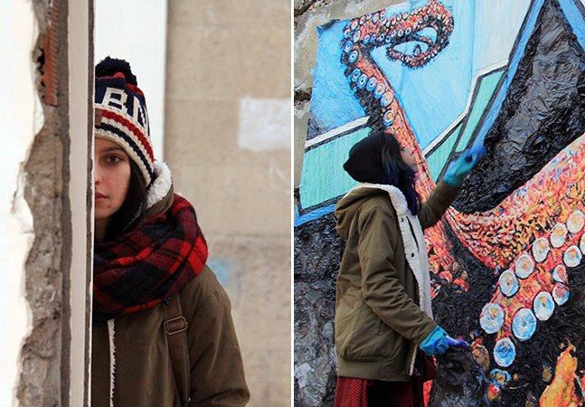 Artista dá exemplo de sustentabilidade e usa sacos do lixo para criar obras de arte pelas cidade