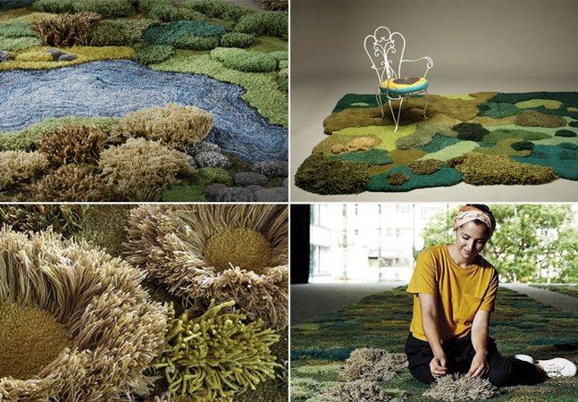 Inspirados na natureza, tapetes  levam o clima do jardim  para ambientes fechados